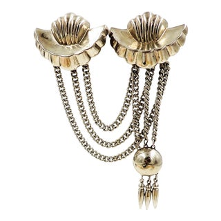 Monet Silvertone Chatelaine Brooch, 1947 For Sale