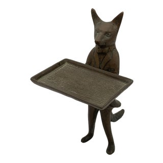 Mid 20th Century Vintage Brass Fox Business Card Holder Dish For Sale