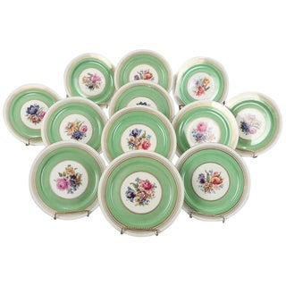 12 Dresden School Czech Floral and Gilt Porcelain Dinner Plates by Puls For Sale