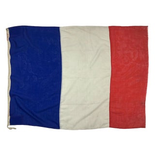 Vintage French Nautical Wool Flag For Sale