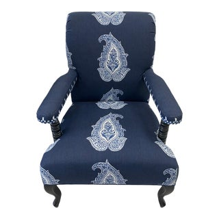 Blue and White American Accent Chair For Sale