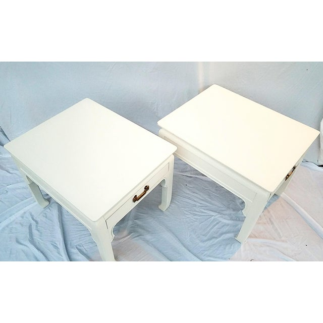 1960s 1960s Asian Inspired Linen White Solid Wood Side Tables - a Pair For Sale - Image 5 of 7
