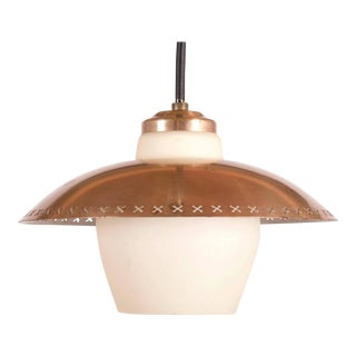 Vintage hanging lamp made of brass & opal glass by Bent Karlby for Fog & Mørup For Sale