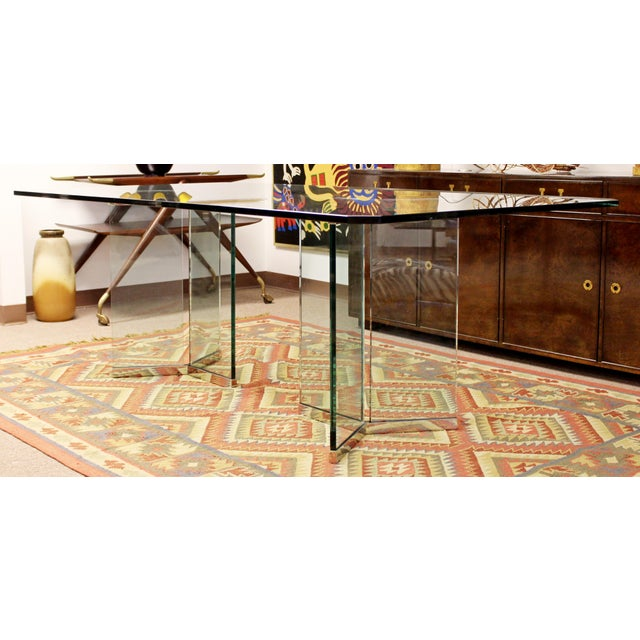 Mid-Century Modern Vintage Pace Mid Century Modern Sculptural Rectangular Glass Chrome Dining Table For Sale - Image 3 of 12