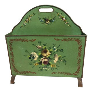 C.1950 French Hand Painted Tole Magazine Rack For Sale