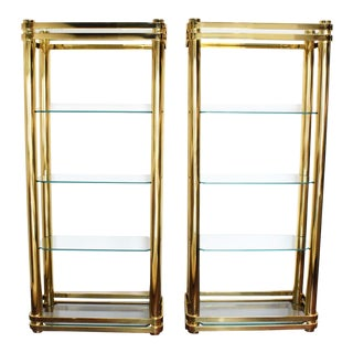 Brass Finish Etageres Attributed to Mastercraft - A Pair For Sale