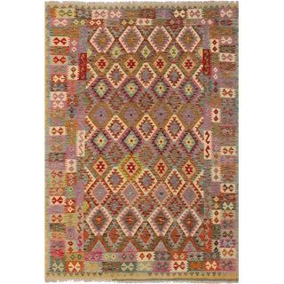 Lamonica Brown/Gray Hand-Woven Kilim Wool Rug -6'9 X 9'10 For Sale
