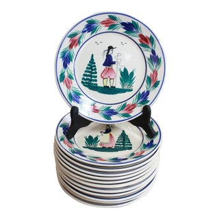 Quimper Lunch Plates - Set of 12 For Sale