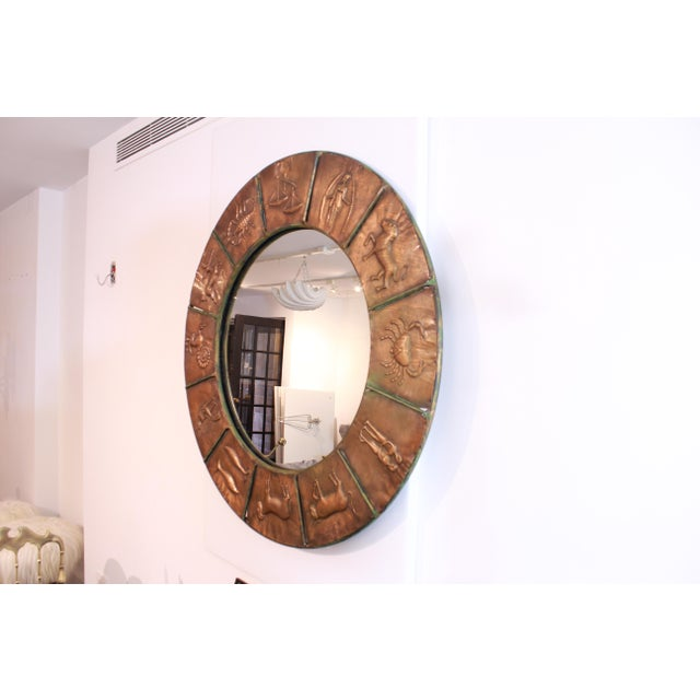 Brass Astrology Relief Mirror For Sale - Image 7 of 9