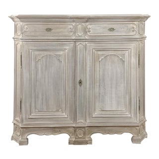 19th Century French Louis XIV Whitewashed Oak Buffet For Sale