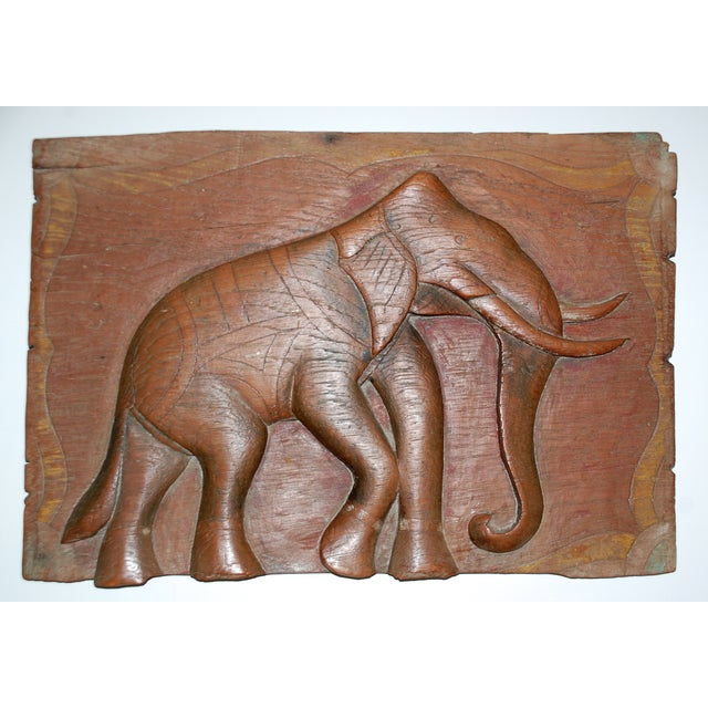 Antique Indian Elephant Relief Panel - Image 2 of 4