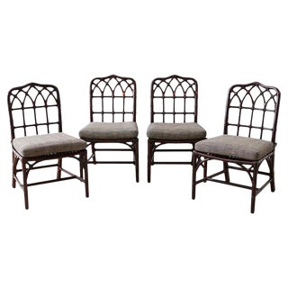 Set of Four McGuire Lacquered Bamboo Dining Chairs For Sale