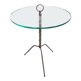 Italian Gio Ponti Inspired Brass and Glass Tripod Table For Sale
