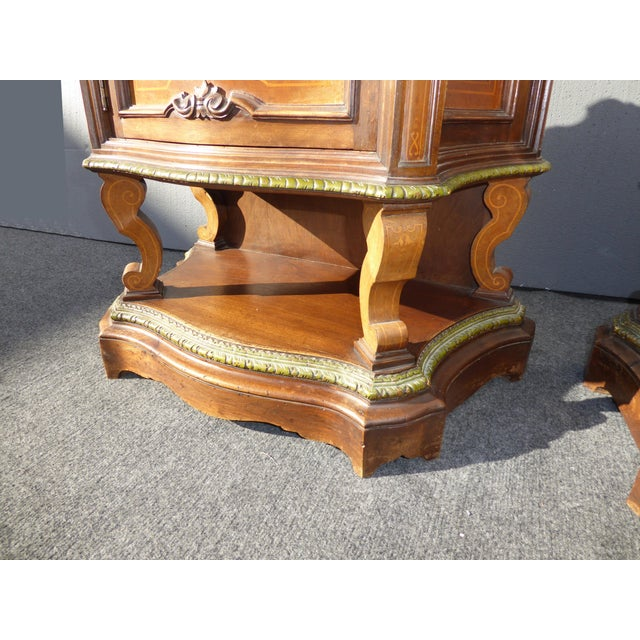 Antique French/Italian White Marble Top Nightstands - a Pair - Image 9 of 11