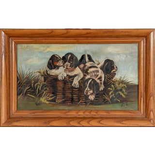 """Early 20th Century """"Puppies in a Basket"""" Oil Painting, Framed For Sale"""