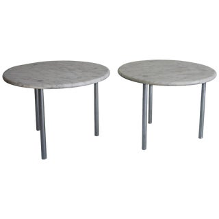 Erwine & Estelle Laverne Rare Marble and Chrome Side Tables For Sale