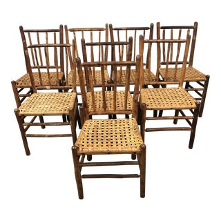 Rustic Wood + Caning Dining Chairs - Set of 8 For Sale