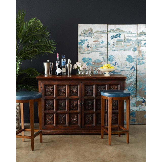 Blue Pair of Dessin Fournir Leather Mahogany Bar Stools For Sale - Image 8 of 13