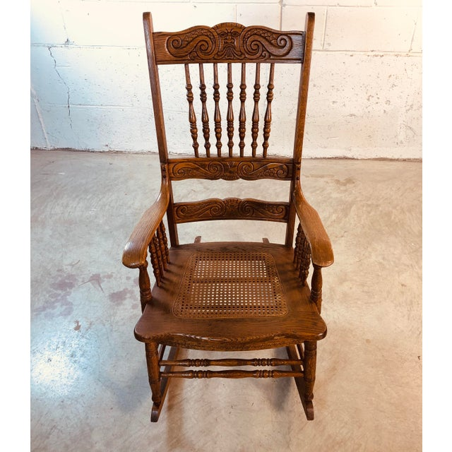 Quarter-Sawn Oak Hand Carved Rocking Chair For Sale In Boston - Image 6 of 13