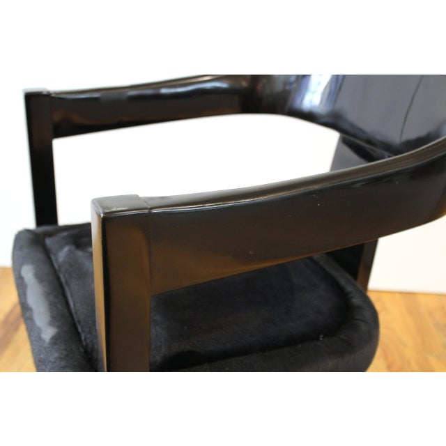 Black Karl Springer Modern 'Onassis' Black Lacquer Armchairs With Pony Hair Seats For Sale - Image 8 of 12
