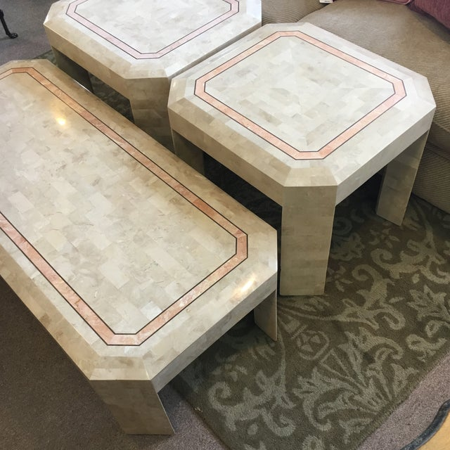 Maitland - Smith Tessellated Fossil Coral Cocktail & End Tables - Set of 3 For Sale - Image 4 of 10