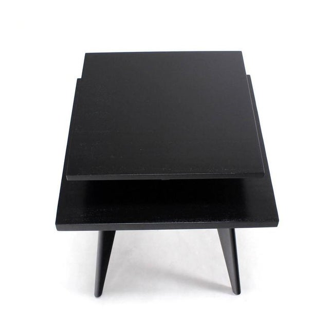 Black Pair of Black Lacquer Square Step Side Tables on Tapered Legs For Sale - Image 8 of 8
