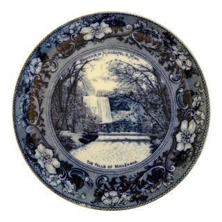 Antique Flow Blue Souvenir Plate of Minnesota For Sale