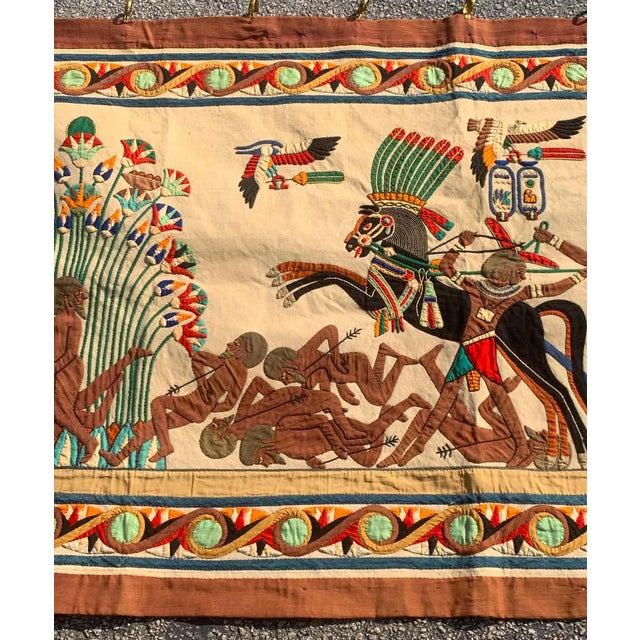 French Grand Tour Egyptian Tomb Tapestry, Circa 1925 For Sale - Image 4 of 9