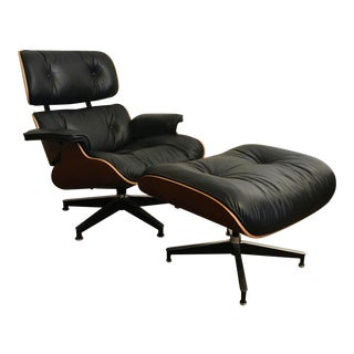 Contemporary Herman Miller Eames Cherry Wood and Black Leather Lounge Chair and Ottoman - a Pair
