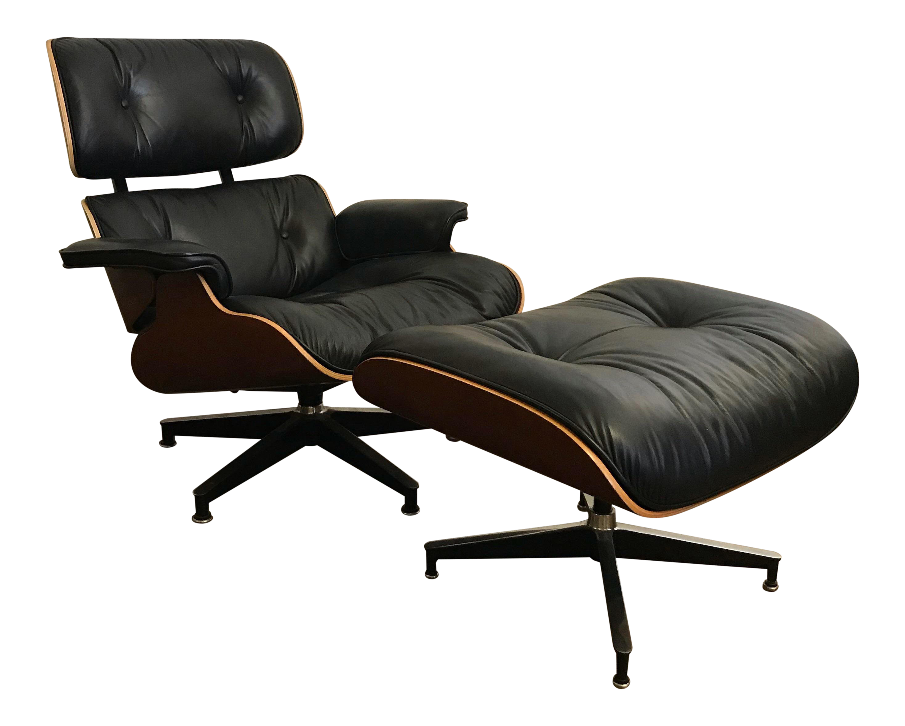 Contemporary Herman Miller Eames Cherry Wood And Black Leather Lounge Chair  And Ottoman   A Pair