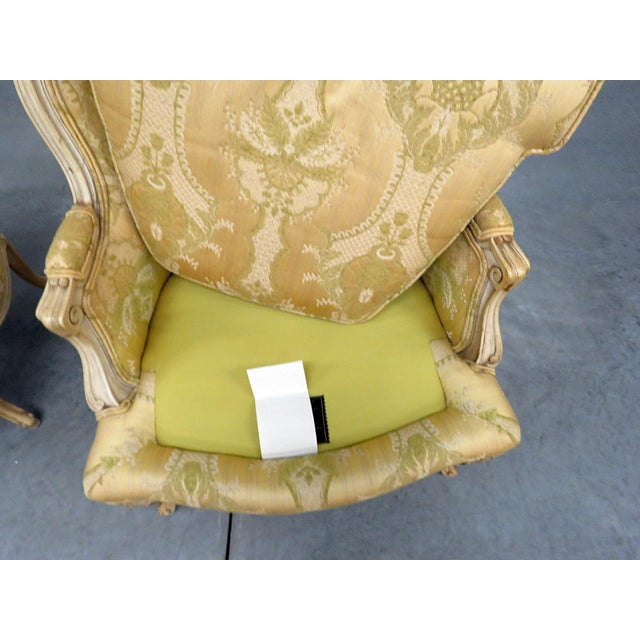 Yellow Pair of Drexel Heritage Louis XVI Style Bergeres For Sale - Image 8 of 10