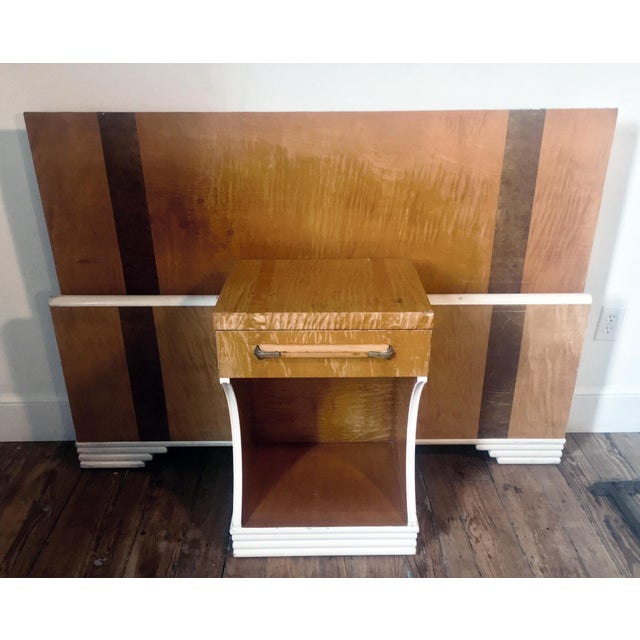 1930s Mid-Century Modern Streamline Moderne Tiger Maple & Burl Bed + Nightstand - 3 Pieces For Sale - Image 13 of 13