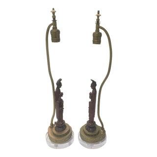 1920s Art Deco Quan Yin Table Lamps - a Pair For Sale
