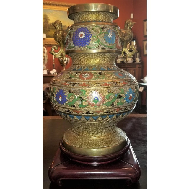 Large Oriental Champleve Cloisonne Urn on Stand For Sale - Image 13 of 13