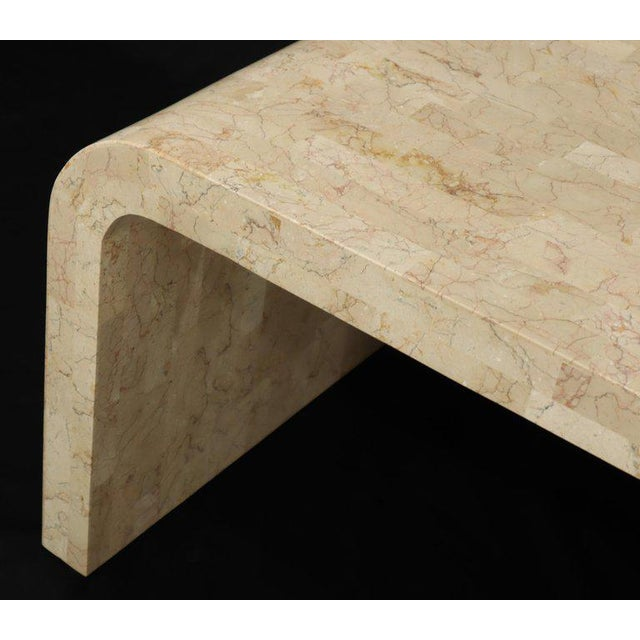 Tessellated Stone Veneer C Shape Side Coffee End Table For Sale - Image 6 of 8
