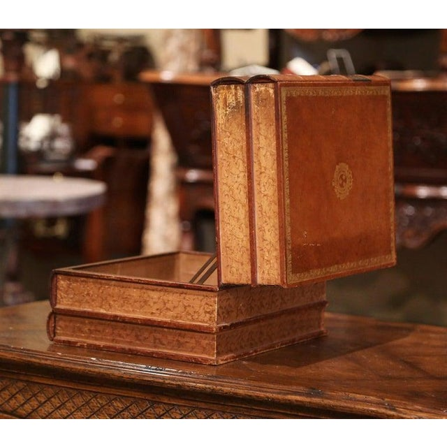 Wood Early 20th Century French Leather Bound Books Decorative Box With Drawer For Sale - Image 7 of 10