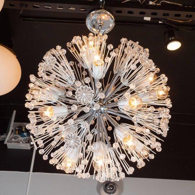 Chrome Midcentury Crystal Sputnik Chandelier by Emil Stejnar for Rupert Nikoll For Sale - Image 7 of 9