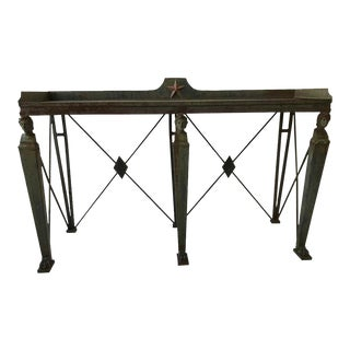 1980s French Empire Style Iron Console with Slate Top For Sale