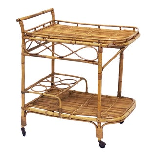 Italian Midcentury Rattan Cane and Bamboo Drinks Cart For Sale