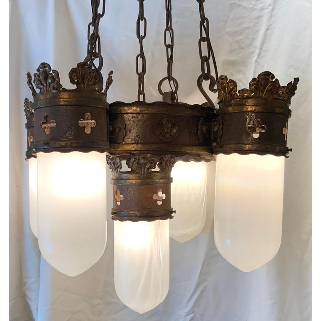19th Century Gothic 5 Light Pendant Chandelier For Sale In Los Angeles - Image 6 of 13