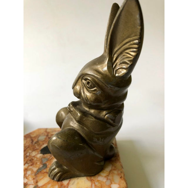 1920s 1920s Art Deco Hippolyte Moreau Rabbit Bookends - a Pair For Sale - Image 5 of 9