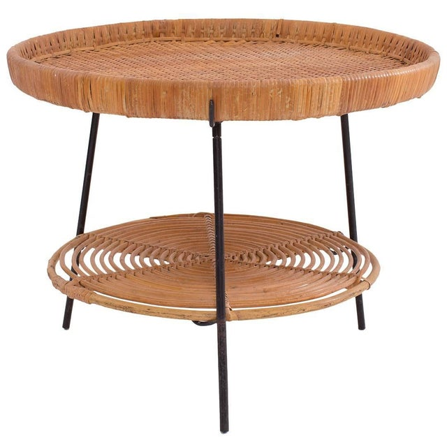 Wicker Rattan and Iron Occasional Table by Raymor For Sale - Image 4 of 4