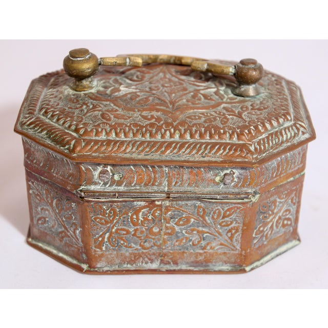 Anglo-Indian Handcrafted Tinned Copper Metal Spices Caddy Box For Sale - Image 4 of 13