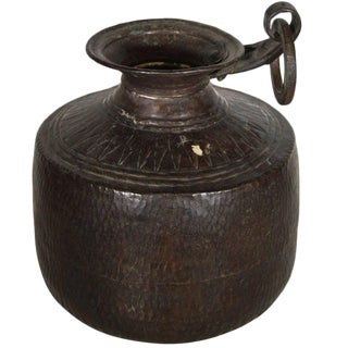Vintage Indian Hand-Hammered Copper Jug with Carvings, Early 20th Century