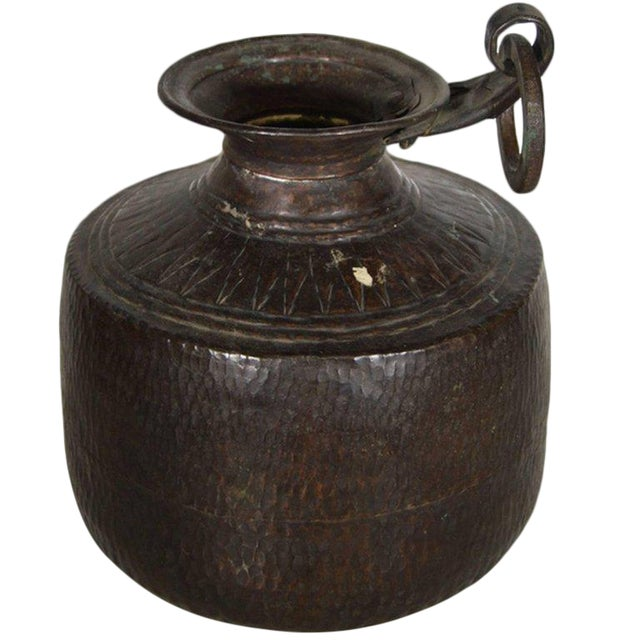 Vintage Indian Hand-Hammered Copper Jug with Carvings, Early 20th Century For Sale