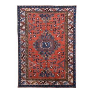 Anadolu Hand Knotted Red Blue Area Rug For Sale