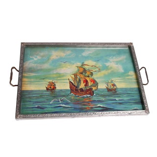 1930's Metal Tray Pictures Three Spanish Galleons Under Glass For Sale