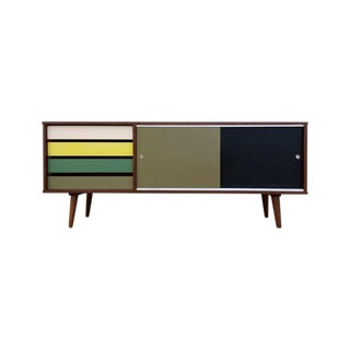 Custom Mid Century Style Walnut Credenza For Sale