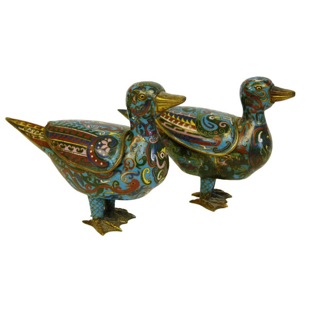 Antique Chinese Cloisonne Duck Censors - Pair - Image 1 of 10