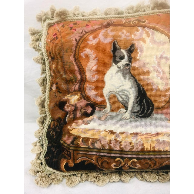 Vinatge Needlepoint With Tassel Trim Pillow of Bulldog For Sale - Image 4 of 13